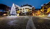 Illuminated Central Square Of Madonna Di Campiglio In The Morning, Italian Alps, Italy