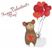 Valentine's Day Card. St. Valentine Day with mouse