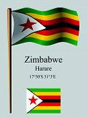 Zimbabwe Wavy Flag And Coordinates