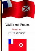 Wallis And Futuna Wavy Flag And Coordinates