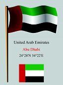 United Arab Emirates Wavy Flag And Coordinates