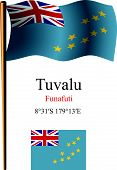 Tuvalu Wavy Flag And Coordinates