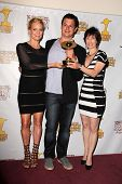 Laurie Holden, David Alpert and Gale Anne Hurd at the 39th Annual Saturn Awards Press Room, The Cast