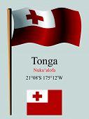 Tonga Wavy Flag And Coordinates