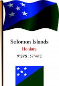 Solomon Islands Wavy Flag And Coordinates