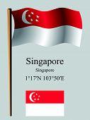 Singapore Wavy Flag And Coordinates