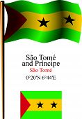 Sao Tome And Principe Wavy Flag And Coordinates