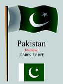 Pakistan Wavy Flag And Coordinates