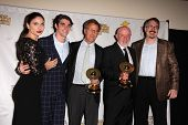 Jodi Lyn O'Keefe, RJ Mitte, Mark Johnson, Jonathan Banks and Vince Gilligan at the 39th Annual Saturn Awards Press Room, The Castaway, Burbank, CA 06-26-13
