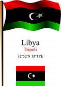 pic of libya  - libya wavy flag and coordinates against white background vector art illustration image contains transparency - JPG