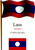Laos Wavy Flag And Coordinates
