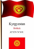 Kyrgyzstan Wavy Flag And Coordinates