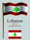 Lebanon Wavy Flag And Coordinates