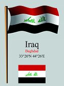 Iraq Wavy Flag And Coordinates