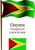 Guyana Wavy Flag And Coordinates