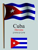 Cuba Wavy Flag And Coordinates