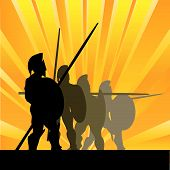 picture of hoplite  - Background illustration with Spartan Hoplites against a sunburst - JPG
