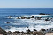 image of cortez  - Waves crashing up on rocks in the Sea of Cortez in Cabo - JPG