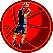 Basketball Player Jump Shot Ball Woodcut Retro