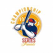 picture of hitter  - Illustration of an american baseball player batter hitter batting set inside circle facing side done in retro style with words Championship Series Finals - JPG
