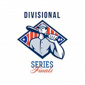 stock photo of hitter  - Illustration of a american baseball player batter hitter holding bat on shoulder set inside diamond shape with stars and stripes done in retro style with words Divisional Series Finals - JPG