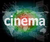Cinema Word On Digital Screen With World Map