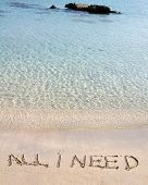 All I Need Message Written On White Sand, With Tropical Sea Waves In Background