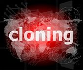 Cloning Word, Backgrounds Touch Screen With Transparent Buttons. Concept Of A Modern Internet