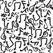 image of treble clef  - Seamless and fully repeatable vector pattern with various music symbols - JPG