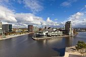 Manchester cityscape at the Salford Quays.