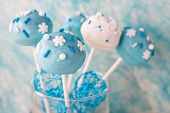 Wedding Cake Pops In White And Soft Blue.