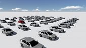 Hundreds Of Cars, One Red