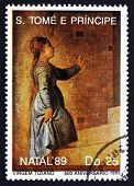 Postage Stamp Sao Tome And Principe 1989 Virgin Mary, By Titian
