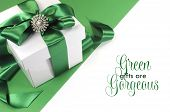 Green And White Gift With Beautiful Satin Ribbon And Green Gifts Are Gorgeous Sample Greeting Messag