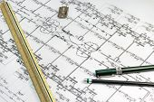 Stationary Tools With Architect Plan Document As A Background
