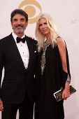 Chuck Lorre and guest at the 65th Annual Primetime Emmy Awards Arrivals, Nokia Theater, Los Angeles,