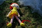 Little Doll Lying In The Grass