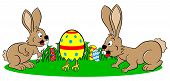 Easter Bunnies Finding A Running Egg