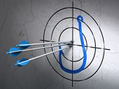 Privacy concept: arrows in Fishing Hook target on wall background