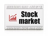 Business concept: newspaper with Stock Market and Growth Graph