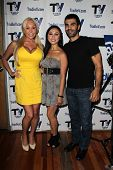 Mary Carey, Christine Nguyen and Ojani Noa on the set of