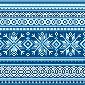 image of scandinavian  - vector seamless background with Scandinavian pattern ornament - JPG