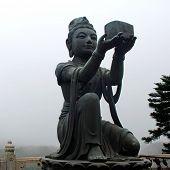 Buddhist Statue On Lantau Island (Hong Kong).