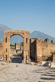 Pompeii Arch With Vesuvius In Background