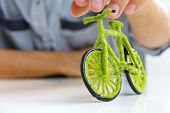 green bicycle icon concept
