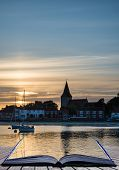Landscape Tranquil Harbour At Sunset With Yachts In Low Tide Creative Concept