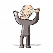 cartoon terrified old man