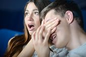 picture of watching movie  - Exciting movie - JPG