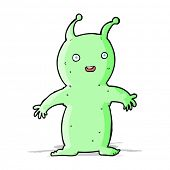 cartoon happy little alien