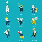 Business and Marketing Icons Set Plan Concept Steps Infographics on Stylish Background Modern Flat D